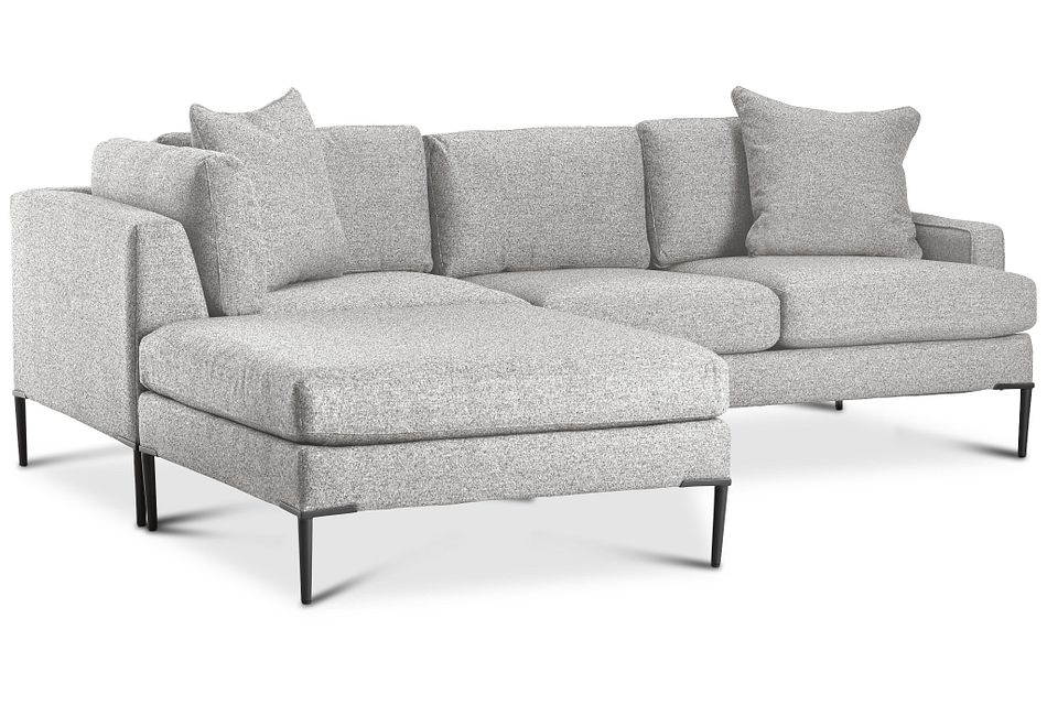 Morgan Light Gray Fabric Small Left Bumper Sectional W/ Metal Legs