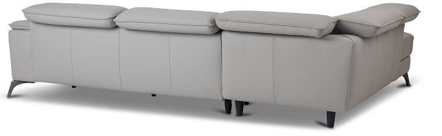 Pearson Gray Leather Left Bumper Sectional