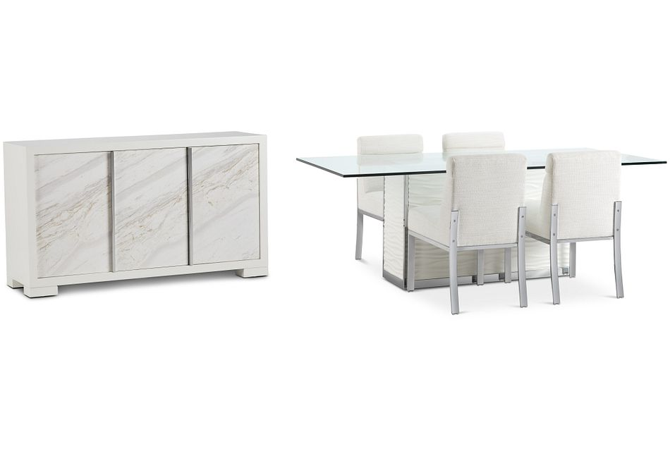 """Ocean Drive 86"""" Glass Dining Room"""