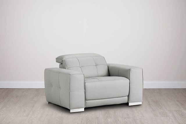 Reva Gray Leather Power Recliner With Power Headrest (0)