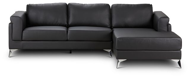 Gianna Black Micro Right Chaise Sectional (3)