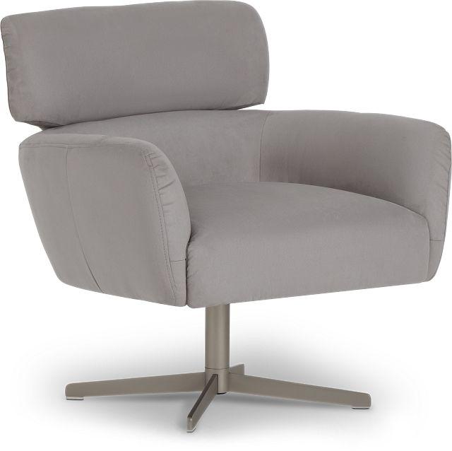 Wynn Light Gray Micro Swivel Accent Chair (3)