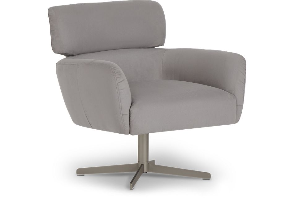 Wynn Light Gray Micro Swivel Accent Chair