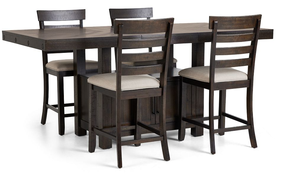 Colorado Dark Tone High Table & 4 Barstools