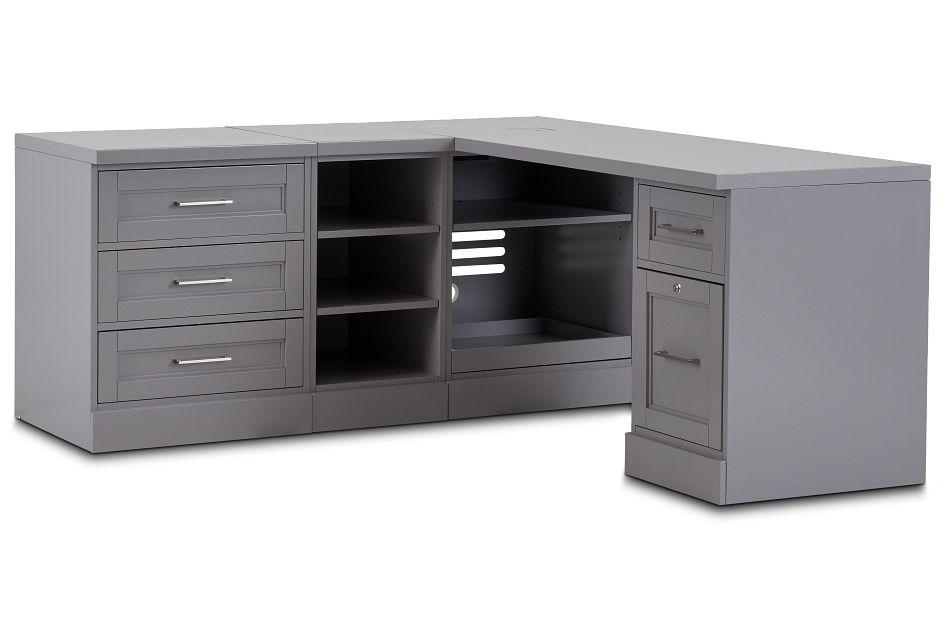Newport Gray L Desk,  (2)
