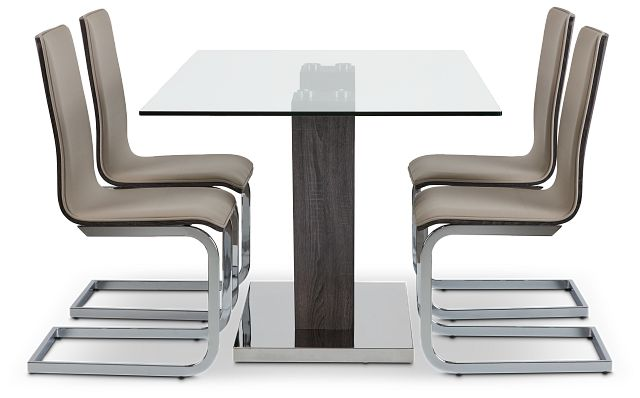 Kendall Dark Tone Rect Table & 4 Upholstered Chairs (2)