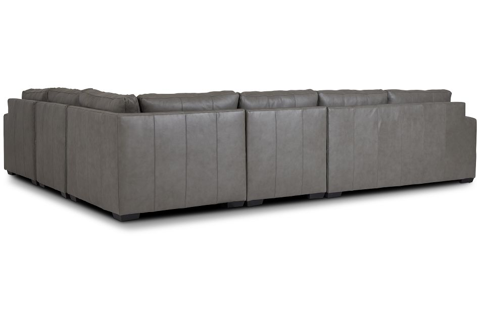 Dawkins Gray Leather Large Right Chaise Sectional,  (3)