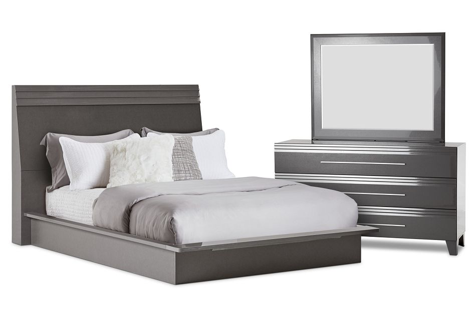 Midtown Gray Wood Platform Bedroom