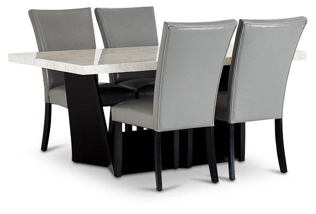 Auburn White Rect Table & 4 Gray Upholstered Chairs