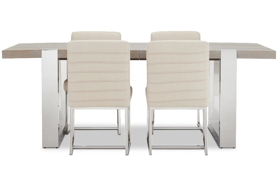 Berlin Beige Rect Table & 4 Upholstered Chairs,  (3)