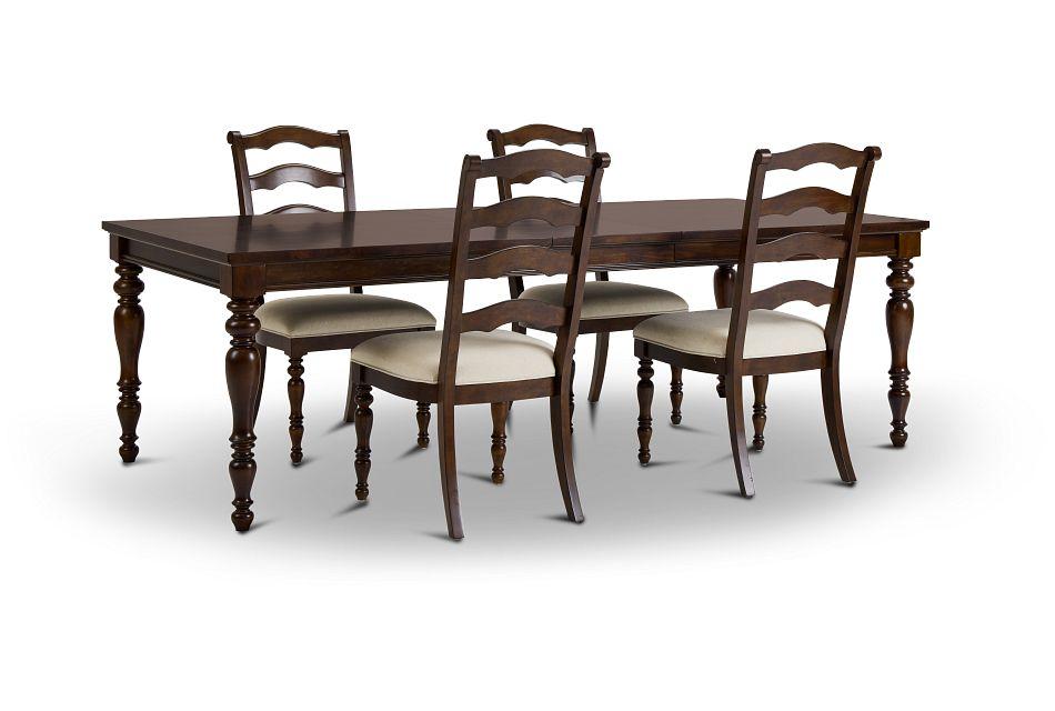 Savannah Dark Tone Rect Table & 4 Chairs,  (3)