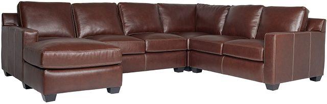 Carson Medium Brown Leather Medium Left Chaise Sectional (0)