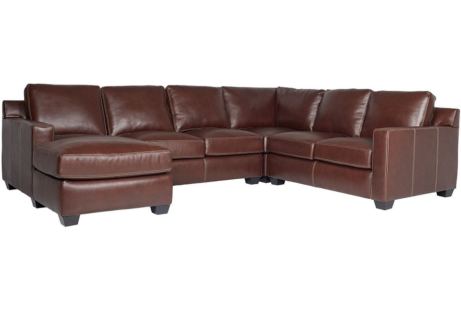 Carson Medium Brown Leather Medium Left Chaise Sectional