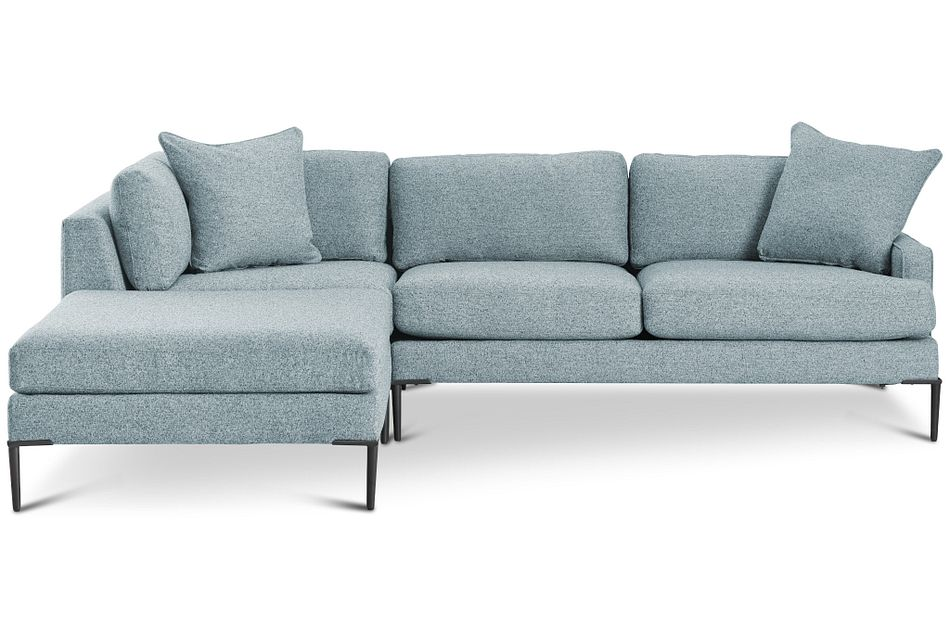 Morgan Teal Fabric Left Bumper Sectional W/ Metal Legs