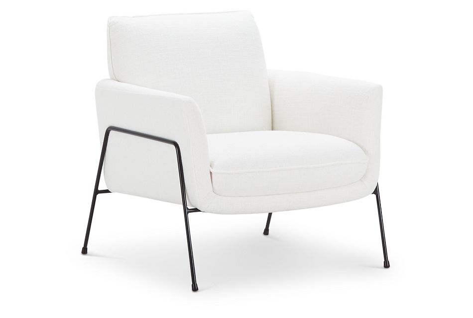 Kace White Fabric Accent Chair