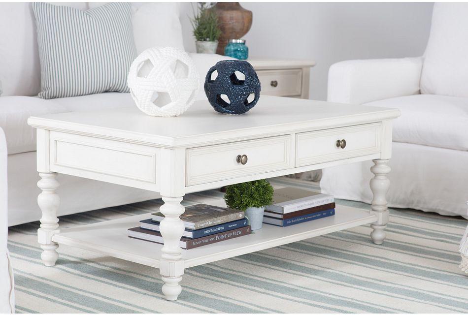 Savannah Ivory Storage Rectangular Coffee Table