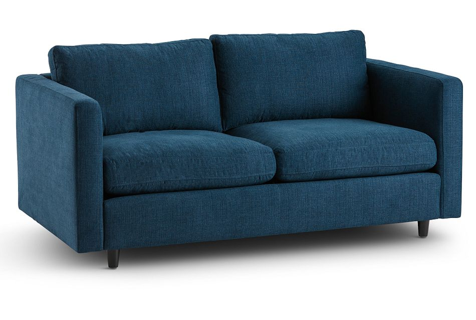 Simone Dark Blue Fabric Loveseat