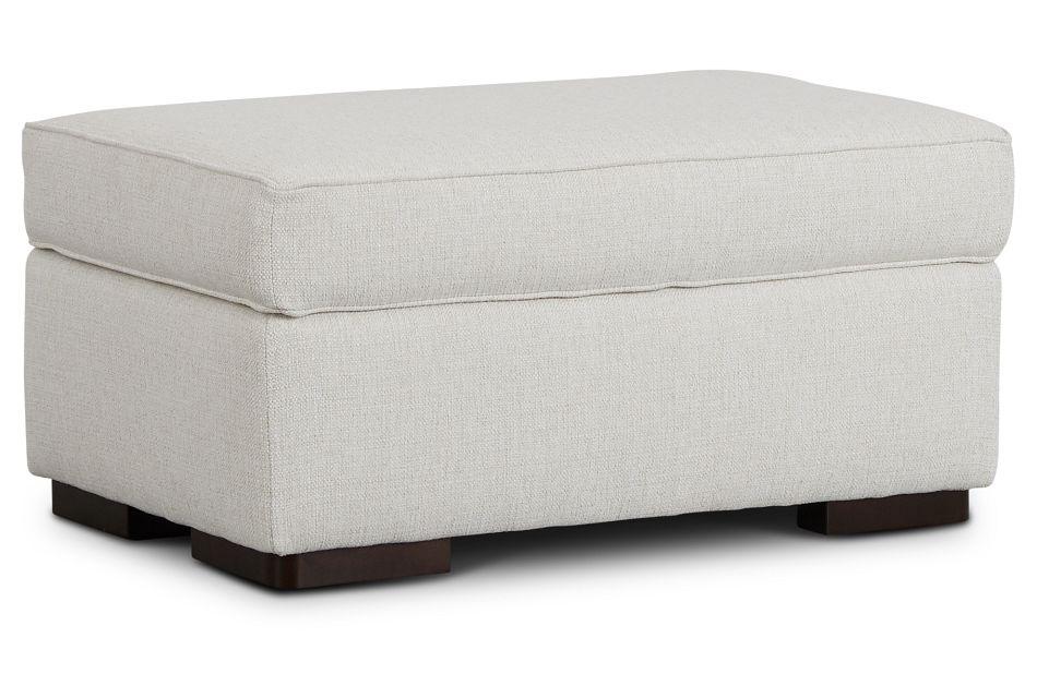 Austin White Fabric Ottoman,  (1)