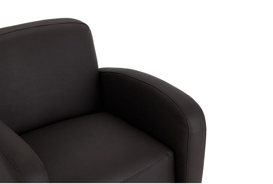 Axis Dark Brown Vinyl Swivel Accent Chair