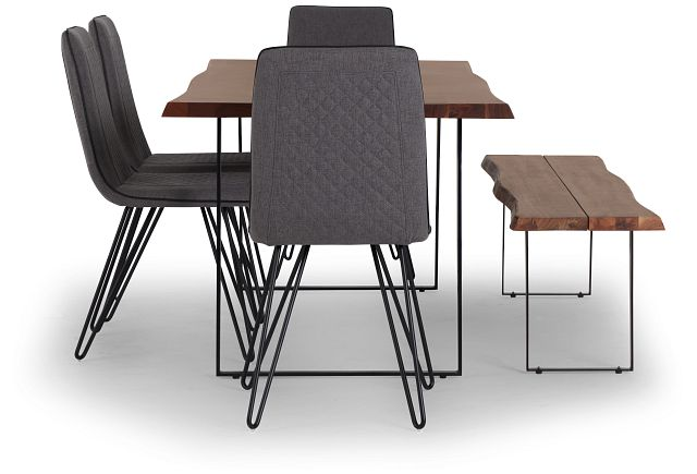 Shiloh Mid Tone Rect Table, 4 Chairs & Bench (3)