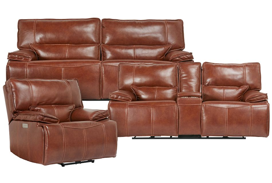 Jesse Medium Brown Lthr/vinyl Power Reclining Living Room
