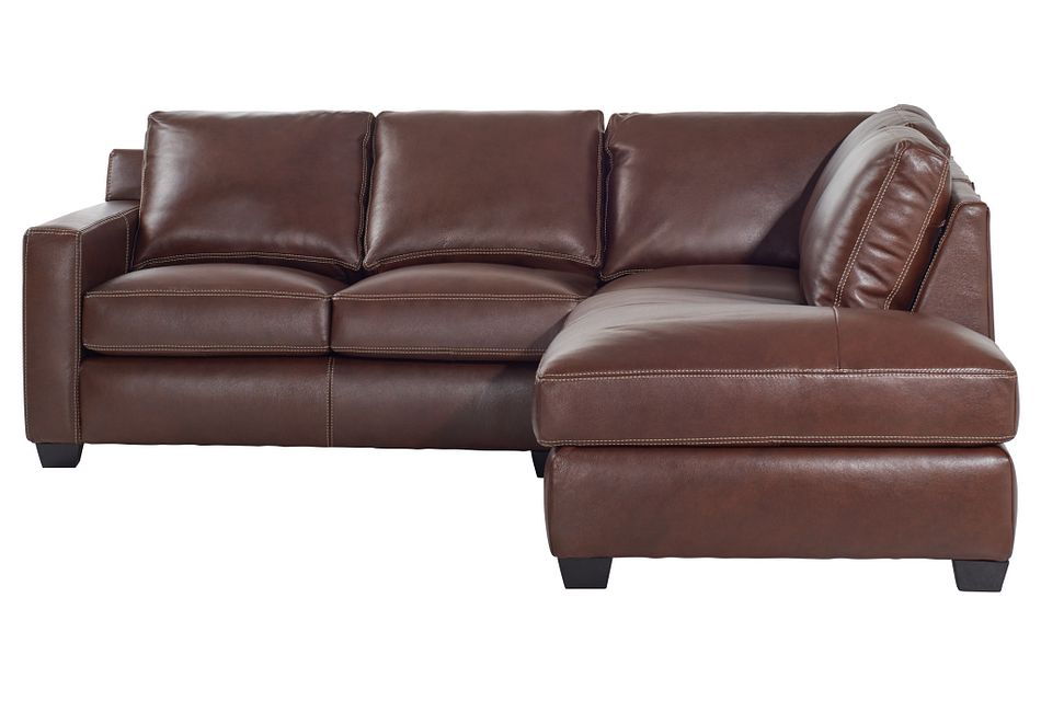 Carson Medium Brown Leather Right Bumper Sectional