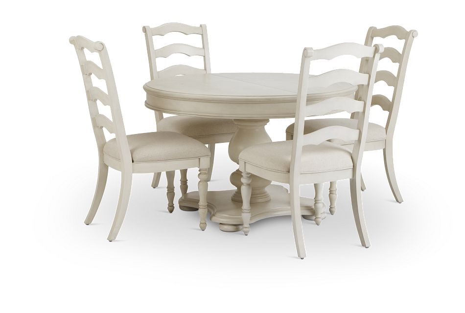 Savannah Ivory Round Table & 4 Chairs,  (1)