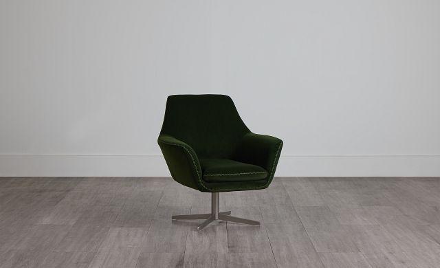 Xander Dark Green Velvet Swivel Accent Chair (0)