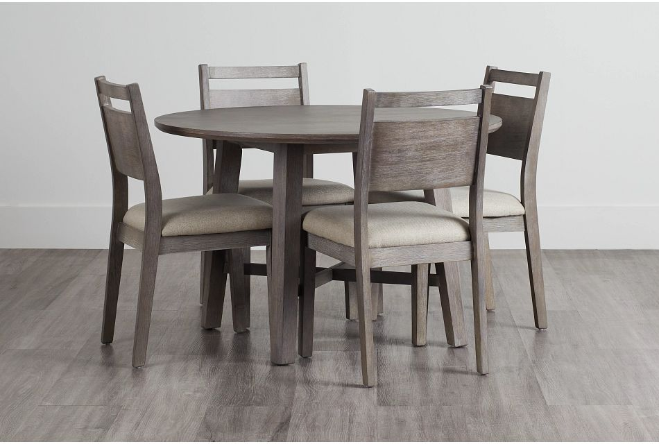 Rockville Light Tone Round Table & 4 Upholstered Chairs,  (0)