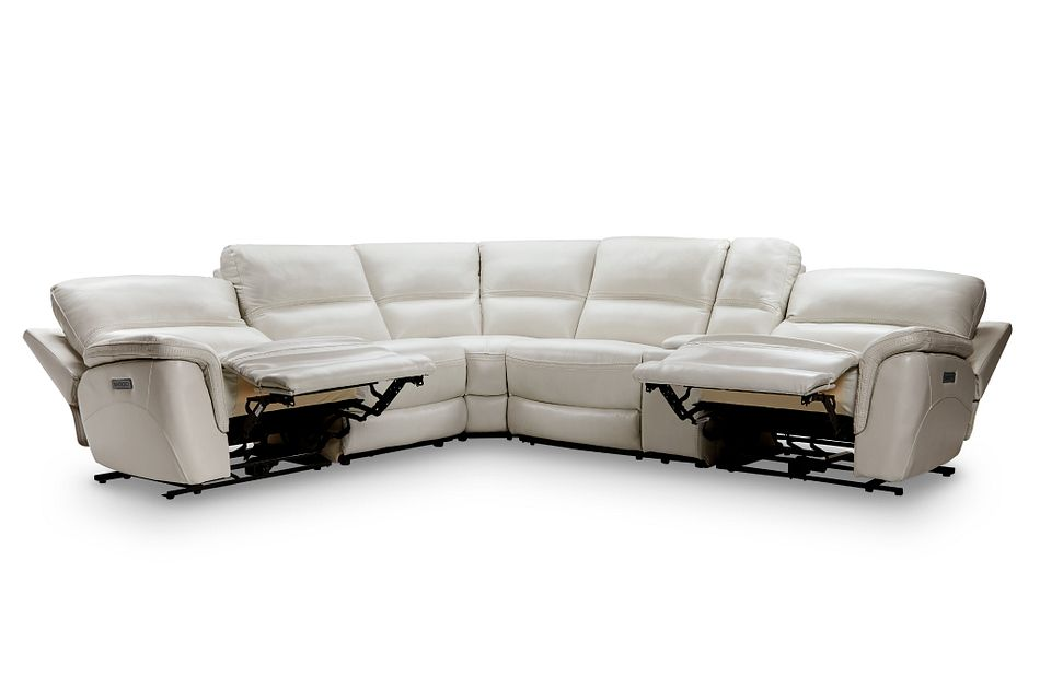 Bryson Light Gray Lthr/vinyl Medium Dual Power 2-arm Reclining Sectional
