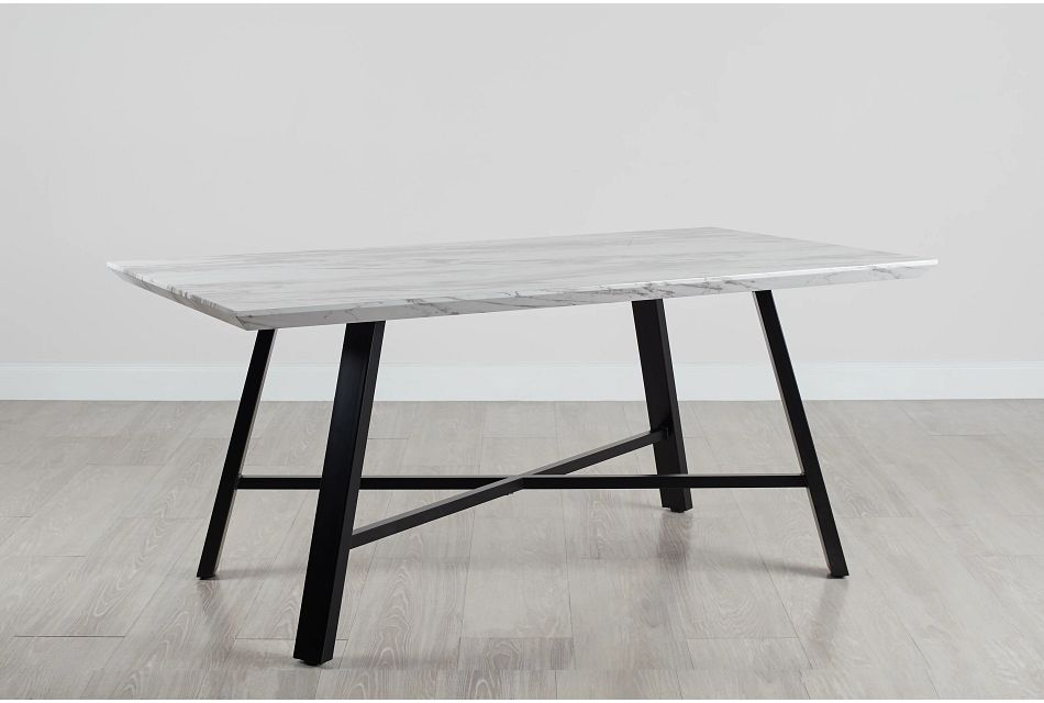 """Capri White 70"""" Rectangular Table W/black Legs"""