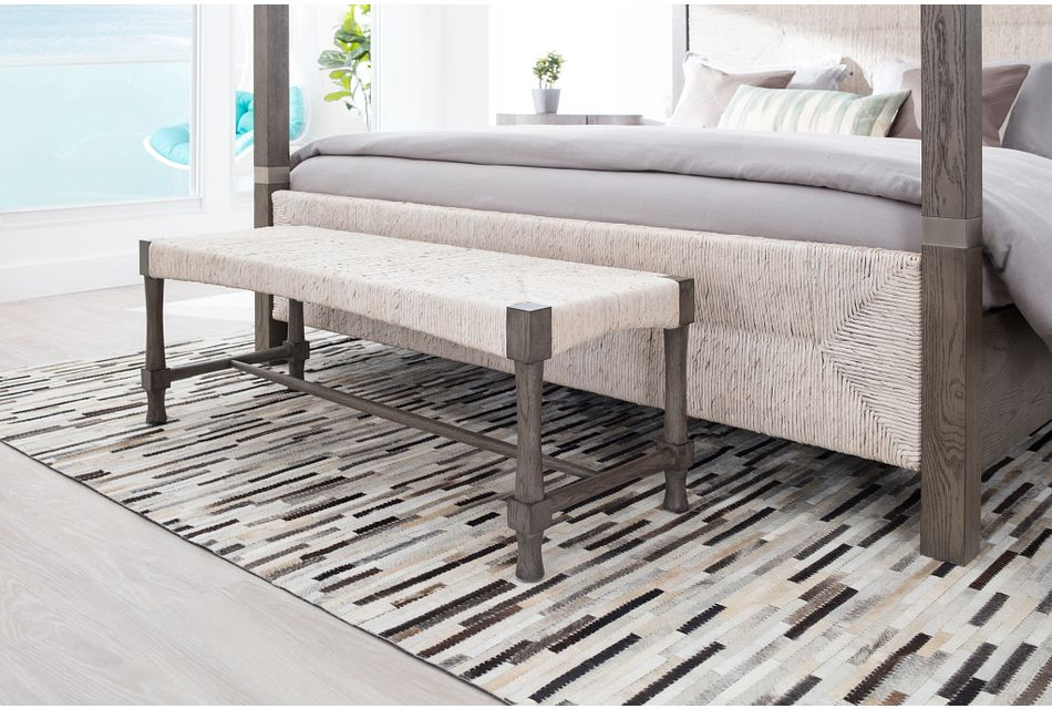 Palma Light Tone Woven Bench Bedroom Benches City Furniture