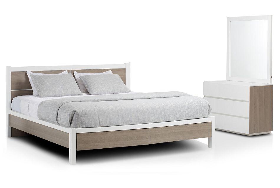 Pesaro Two-tone Platform Storage Bedroom