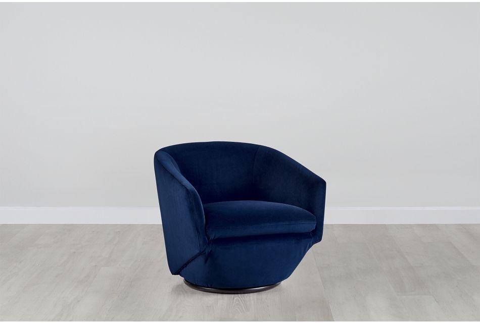 Darian Dark Blue Velvet Swivel Accent Chair
