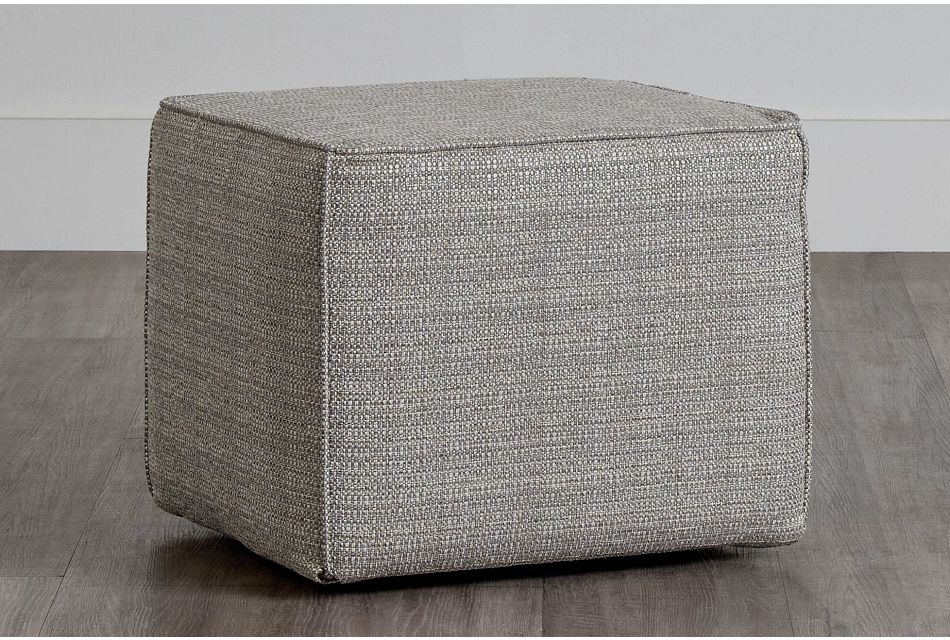 Jackie Gray Fabric Accent Pouf,