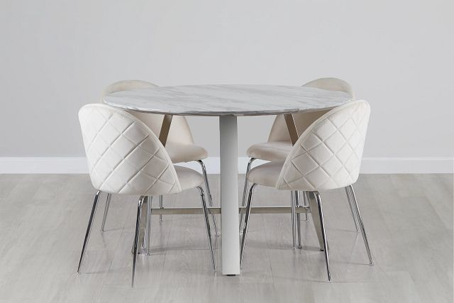 Capri Stainless Steel Ivory Round Table & 4 Upholstered Chairs