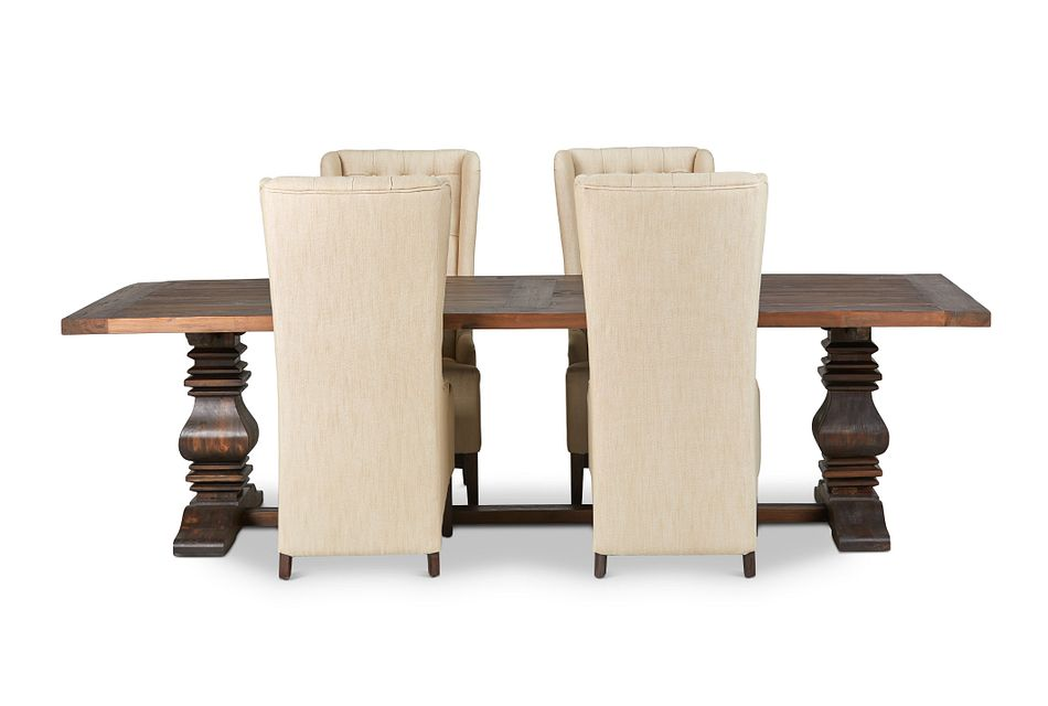 """Hadlow Mid Tone 110"""" Table & 4 Upholstered Chairs"""