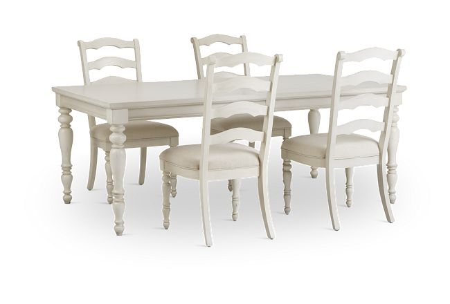 Savannah Ivory Rect Table & 4 Chairs