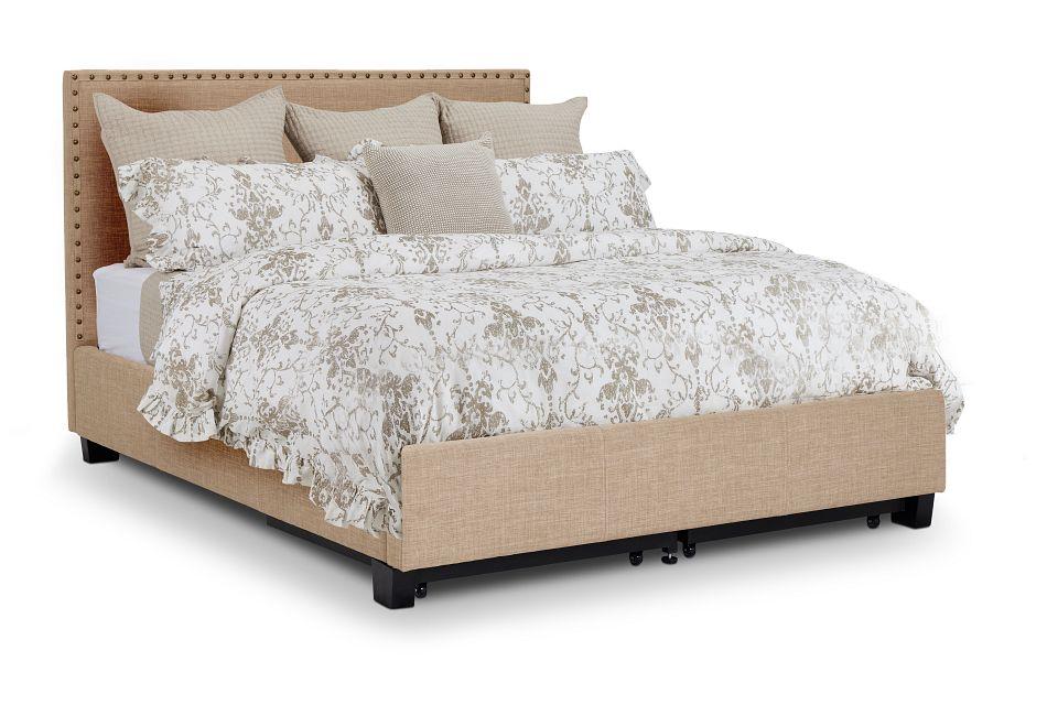 Holden Taupe Uph Platform Storage Bed, Queen (1)