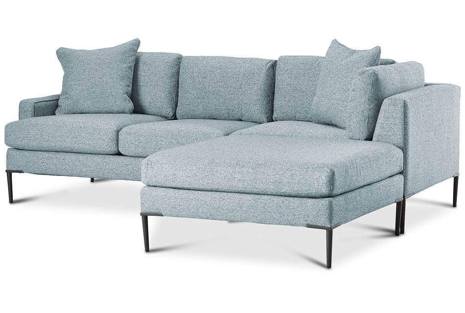 Morgan Teal Fabric Small Right Bumper Sectional W/ Metal Legs