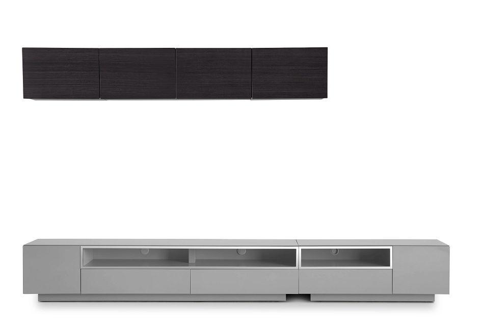 "Vancouver 134"" Gray Dark Tone 6-piece Left Modular Entertainment Wall"