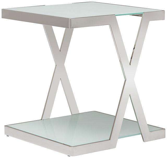 Delia White Square End Table (1)