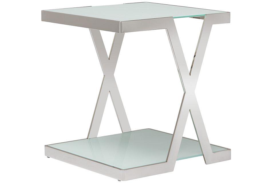 Delia White Square End Table