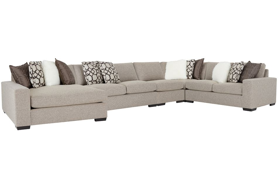 Orlando Brown Fabric Large Left Chaise Sectional