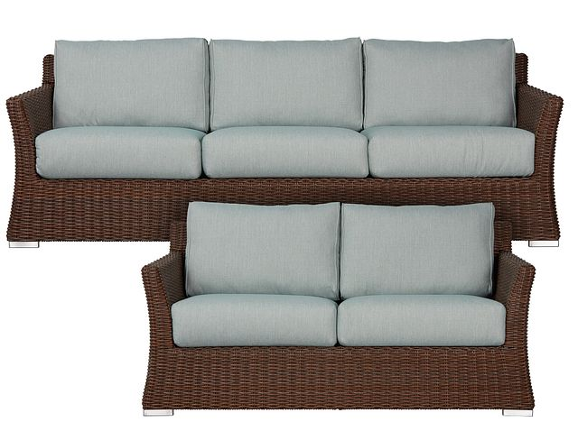 Southport Teal Woven Outdoor Living Room Set