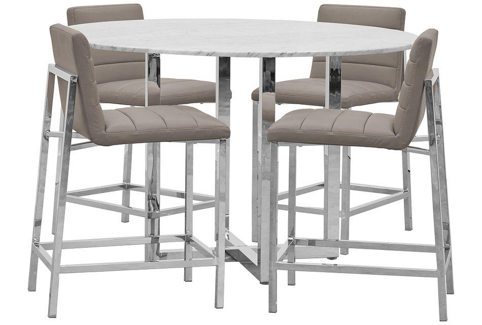 Amalfi Taupe Marble High Table & 4 Upholstered Barstools