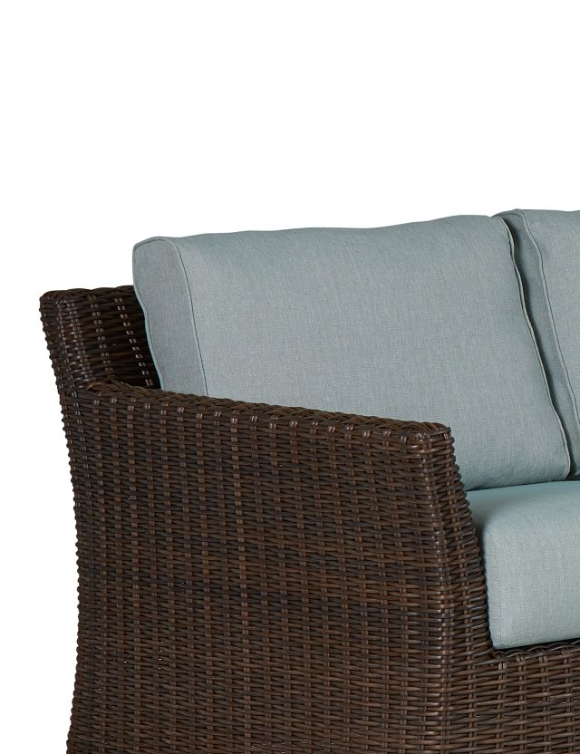 Southport Teal Woven Small Two-arm Sectional (3)