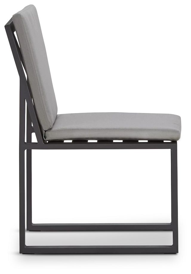 Linear Dark Gray Aluminum Cushioned Chair (1)
