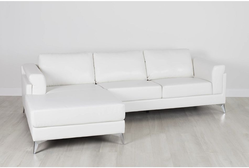 Gianna White Micro Left Chaise Sectional, %%bed_Size%% (0)