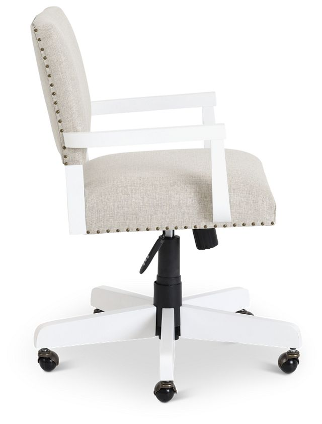 Newport Beige Wood Upholstered Desk Chair (2)